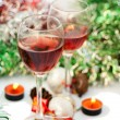 Stock Photo: Red wine for Christmas