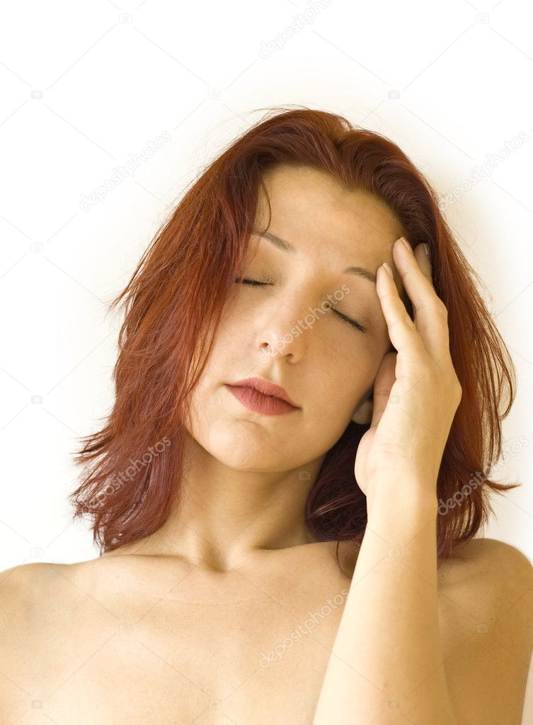 Woman with headache — Stock Photo #1813394