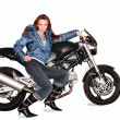 Girl and motorcycle — Stock Photo