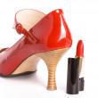 Royalty-Free Stock Photo: Shoes on a high heel with lipstick
