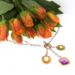 Stock Photo: Bouquet and jeweller ornament