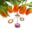 Rose  and jeweller ornament - Stock Photo