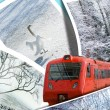 Train of dream of winter travel — Stock Photo