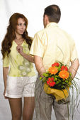 Man prepared bouquet — Stock Photo