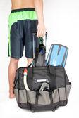 Man en kofferadam ve bavul — Stockfoto