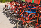 Parking of beach automobile-bicycles — Stock Photo