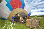 Balloon inflate before flight — Stock Photo