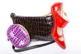 Handbag, purse and shoes — Stock Photo