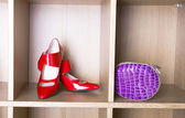 Shoes on high heel and a purse — Stock Photo