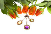 Rose and jeweller ornament — Stock Photo