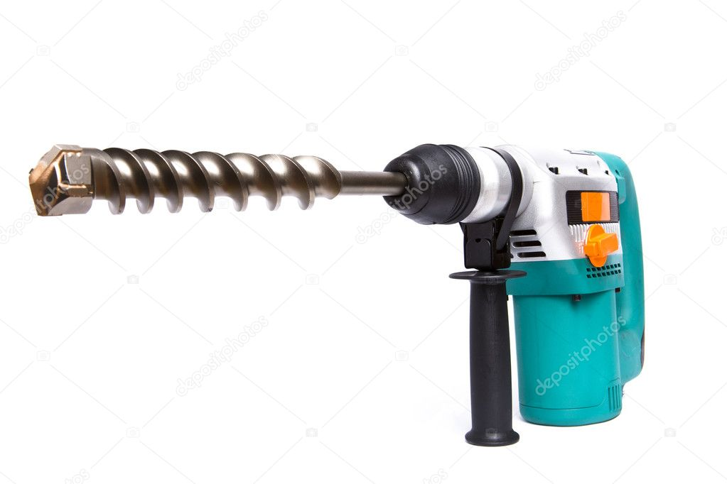 The powerful professional building puncher-hammer with the big drill on a white background — Stock Photo #1782910
