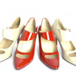 Stock Photo: Two pairs new ladies' shoes