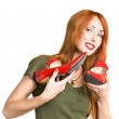 Woman with the elegant red shoes — Stock Photo