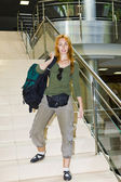 Woman with a road backpack — Fotografia Stock