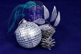 Silvery New Year's ball — Stock Photo