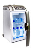 Automobile refrigerator with bottles of — Stock Photo