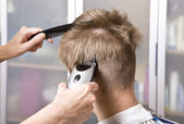 Hairdresser cuts client — Stock Photo
