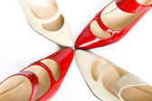 Two pairs elegant ladies' shoes — Stock Photo