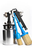 New metal brilliant Spray gun And brush — Stock Photo