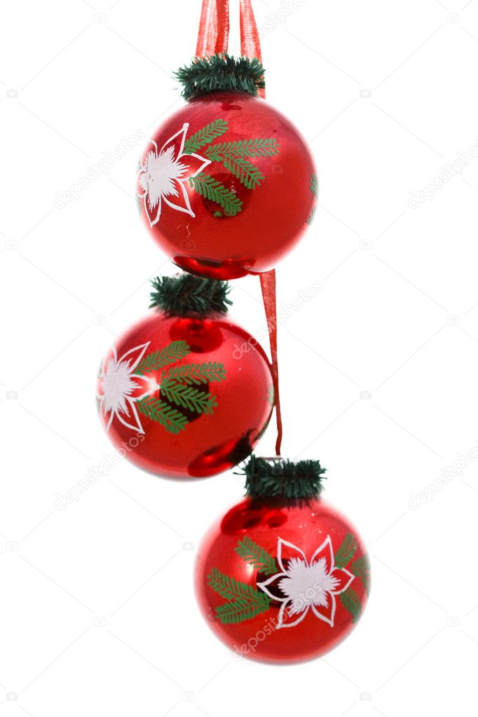 Three red glass New Year's balls  Stock Photo #1827458