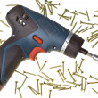 Drill-screwdriver electric storage and s — Stock Photo
