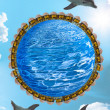 Dolphins and azure planet — Stock Photo