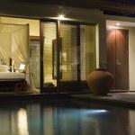 Villa in night illumination and pool — Stock Photo #2642958
