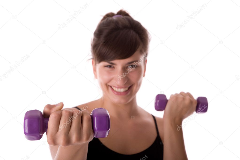 Fitness woman with hand weights. — Stock Photo #1798944