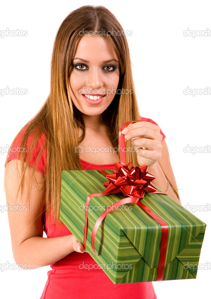 Attractive womanopen gift in package. — Stock Photo #1805417