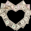 Stock Photo: Heart from dollars black
