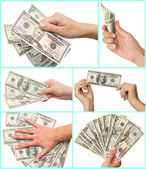 Hand and dollars — Stock Photo