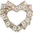 Heart from dollars — Stock Photo