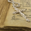Old bible and silver cross — Stok fotoğraf