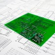 Printed circuit board and schematic — Stockfoto #1807124
