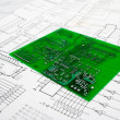 Stock Photo: Printed circuit board and schematic