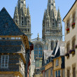 Quimper, cathedral and timbered houses — Stock Photo