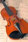 Violin resting on music scores — Stock Photo
