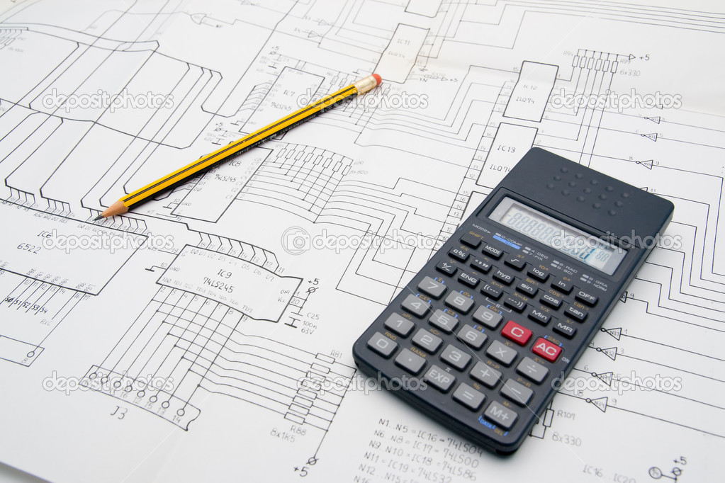 Engineer architect Design table with calculator and pencil — Stock Photo #1806311