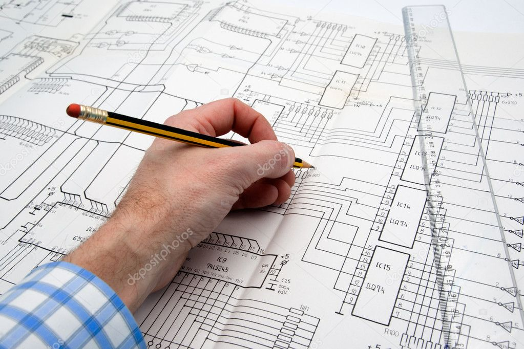 Engineer working on a project with pencil and ruler — Stok fotoğraf #1807063
