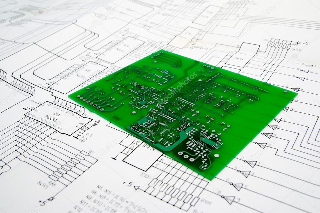 Printed circuit board and schematic — Stock Photo #1807124