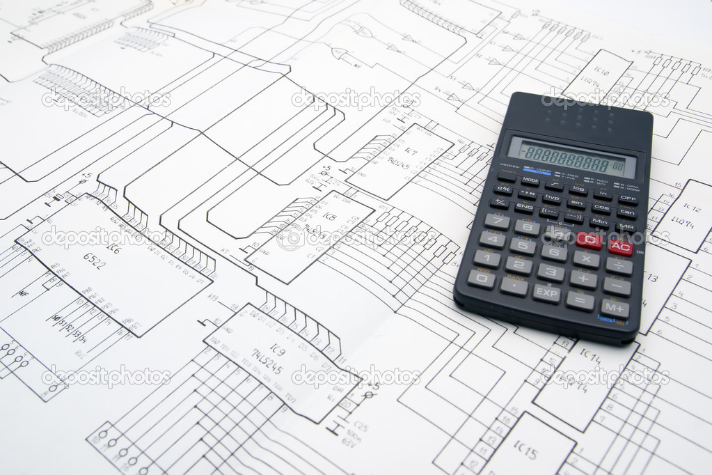 Engineer table with schematics and calculator — Stock Photo #1807273