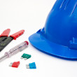 Safety blue helmet and tools for workers — Stock Photo #1821333
