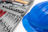 Safety blue helmet and tool box — Stock Photo