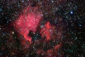 Campo de estrellas y nebulosas en la vía láctea — Foto de Stock