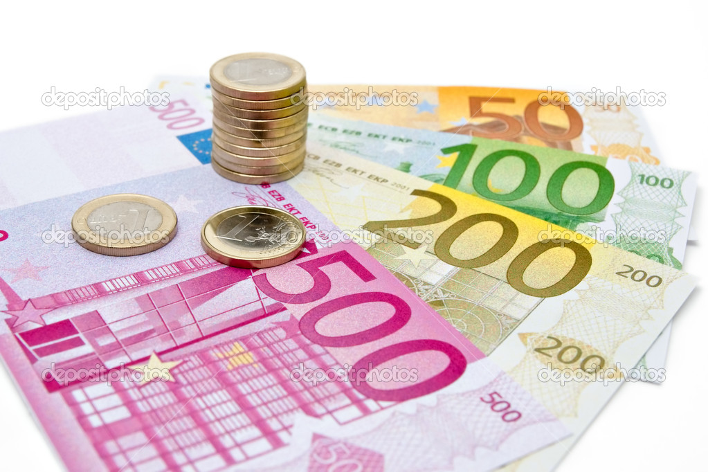 Euro banknotes and coins — Stock Photo #1822432