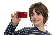 Happy kid taking a photo — Stock Photo