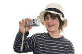Happy kid taking a photo — Stock Photo