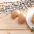 Easter cake, eggs and catkins — Stock Photo