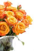 Orange roses in glass vase — Stock Photo