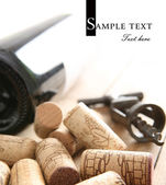 Bottle of red wine and old corkscrew — Foto de Stock
